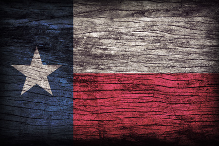 Texas flag pattern on wooden board texture ,retro vintage style Banque d'images