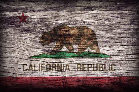 california flag: California flag pattern on wooden board texture ,retro vintage style Stock Photo