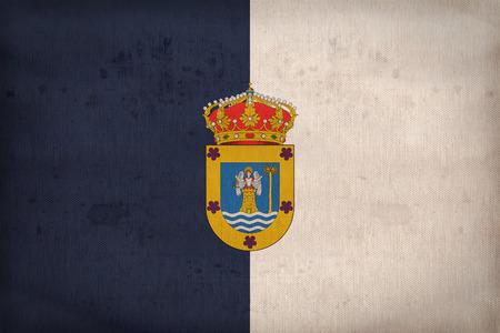 foreign land: La Palma flag pattern on fabric texture,retro vintage style