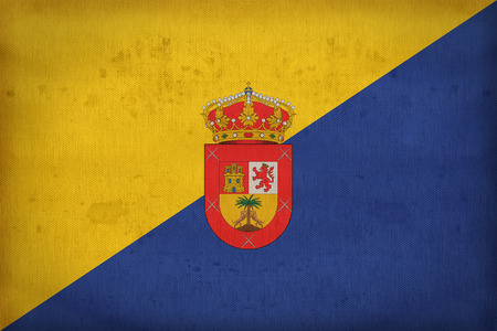 foreign land: Gran Canaria flag pattern on fabric texture,retro vintage style