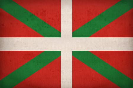 Ikurrina、布のテクスチャ、レトロなビンテージ スタイルのバスクの自治コミュニティの旗パターン