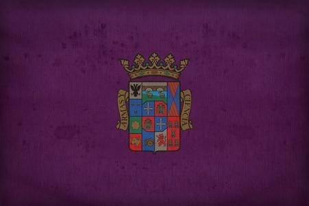 foreign land: Palencia flag pattern on fabric texture,retro vintage style Stock Photo