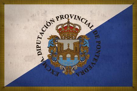 foreign land: Pontevedra flag pattern on fabric texture,retro vintage style