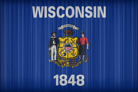 wisconsin flag: Wisconsin flag pattern on the fabric curtain, vintage style