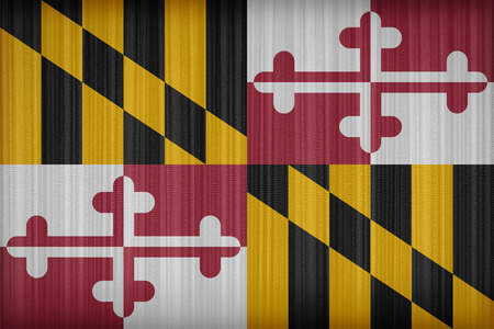 maryland flag: Maryland flag pattern on the fabric curtain, vintage style Stock Photo