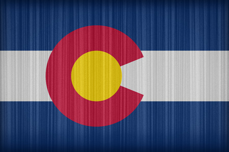 colorado flag: Colorado flag pattern on the fabric curtain, vintage style Stock Photo