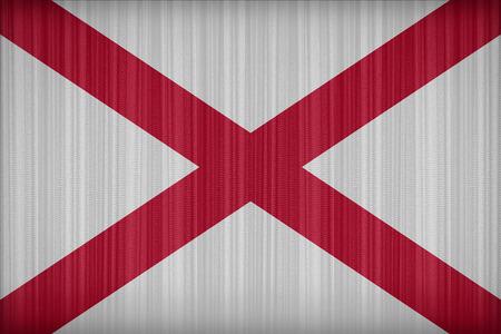 alabama flag: Alabama flag pattern on the fabric curtain, vintage style Stock Photo