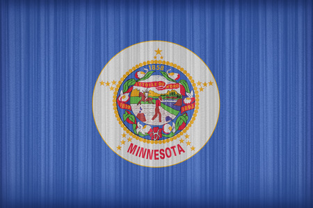 Minnesota flag pattern on the fabric curtain, vintage style