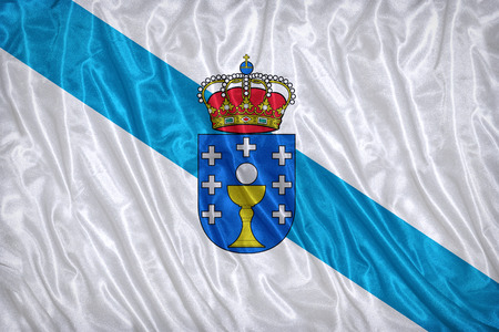 foreign land: Galicia flag pattern on the fabric texture ,vintage style