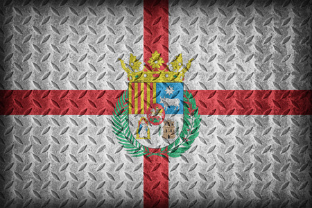 foreign land: Teruel flag pattern on diamond metal plate texture ,vintage style Stock Photo