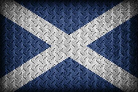 foreign land: Tenerife flag pattern on diamond metal plate texture ,vintage style