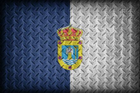 foreign land: La Palma flag pattern on diamond metal plate texture ,vintage style