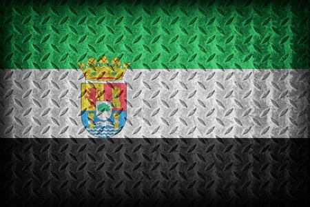 foreign land: Extremadura flag pattern on diamond metal plate texture ,vintage style