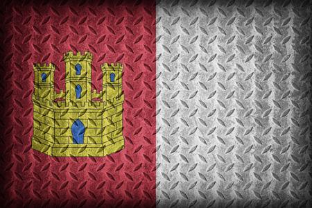 foreign land: Castile-La Mancha flag pattern on diamond metal plate texture ,vintage style