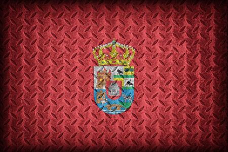 foreign land: Avila flag pattern on diamond metal plate texture ,vintage style