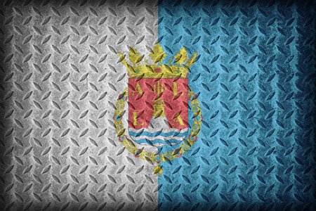 foreign land: Alicante flag pattern on diamond metal plate texture ,vintage style