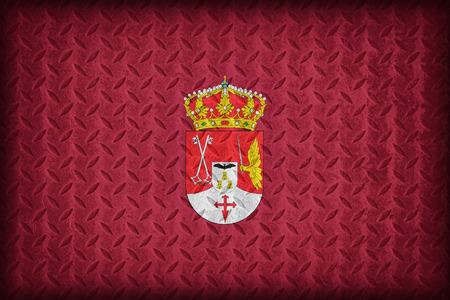 foreign land: Albacete flag pattern on diamond metal plate texture ,vintage style