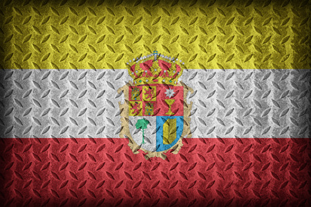 foreign land: Cuenca flag pattern on diamond metal plate texture ,vintage style