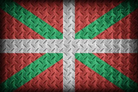 foreign land: Ikurrina , Basque Autonomous Community flag pattern on diamond metal plate texture ,vintage style