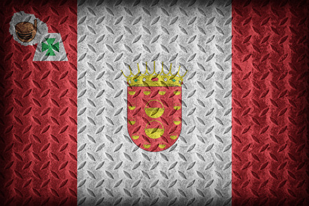 foreign land: La Gomera flag pattern on diamond metal plate texture ,vintage style Stock Photo