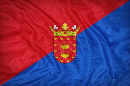 foreign land: Lanzarote flag on fabric texture,retro vintage style