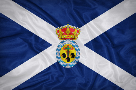 santa cruz de tenerife: Santa Cruz de Tenerife flag on fabric texture,retro vintage style