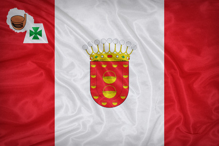 foreign land: La Gomera flag on fabric texture,retro vintage style