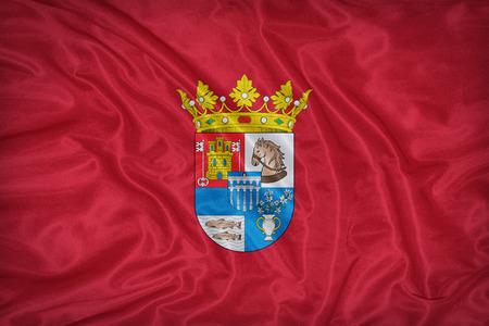 foreign land: Segovia flag on fabric texture,retro vintage style