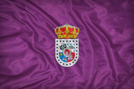 foreign land: Soria flag on fabric texture,retro vintage style Stock Photo