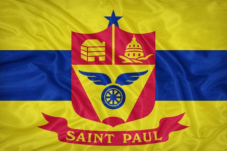 saint paul: Saint Paul ,Minnesota flag on fabric texture,retro vintage style