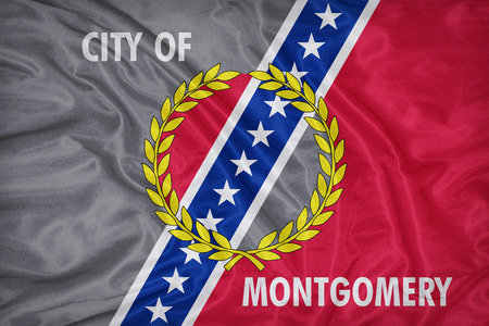 alabama flag: Montgomery ,Alabama flag on fabric texture,retro vintage style