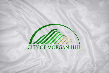 california flag: Morgan Hill ,California flag on fabric texture,retro vintage style Stock Photo