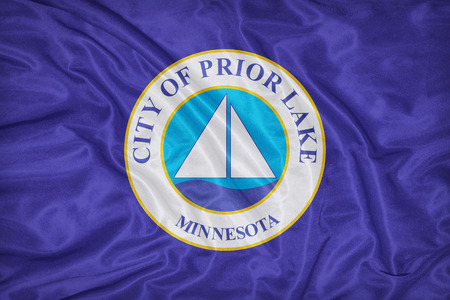 prior lake: Prior Lake ,Minnesota flag on fabric texture,retro vintage style