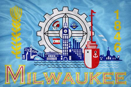 wisconsin flag: Milwaukee ,Wisconsin flag on fabric texture,retro vintage style Stock Photo