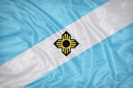 wisconsin flag: Madison ,Wisconsin flag on fabric texture,retro vintage style Stock Photo