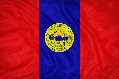 california flag: Downey ,California flag on fabric texture,retro vintage style