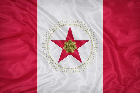 alabama flag: Birmingham ,Alabama flag on fabric texture,retro vintage style Stock Photo