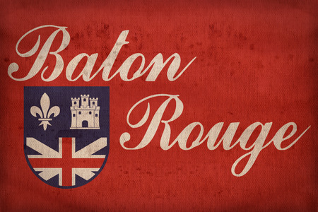 louisiana flag: Baton Rouge ,Louisiana flag on fabric texture,retro vintage style