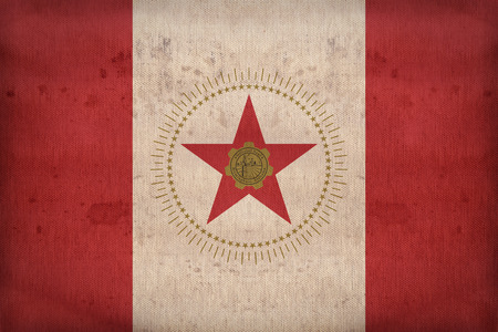 alabama flag: Birmingham , Alabama flag on fabric texture,retro vintage style Stock Photo