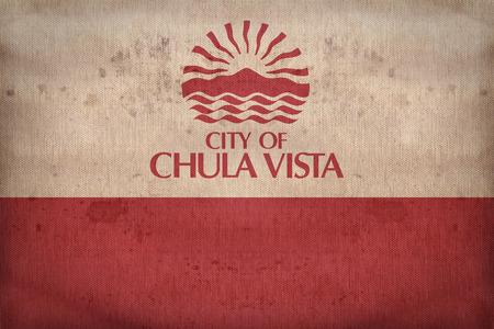 california flag: Chula Vista ,California flag on fabric texture,retro vintage style Stock Photo