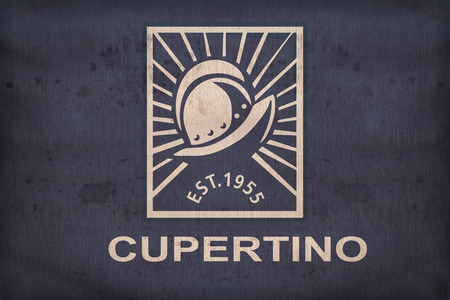california flag: Cupertino ,California flag on fabric texture,retro vintage style Stock Photo
