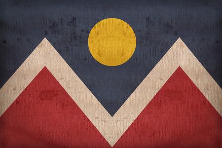 colorado flag: Denver ,Colorado flag on fabric texture,retro vintage style Stock Photo