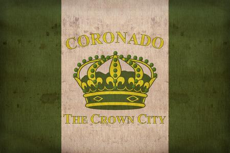 california flag: Coronado ,California flag on fabric texture,retro vintage style Stock Photo