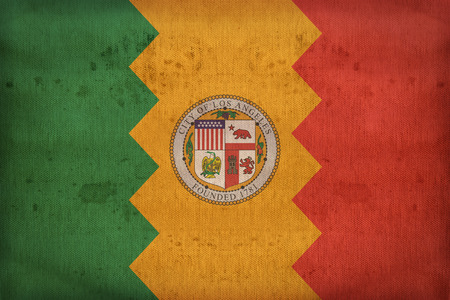 california flag: Los Angeles ,California flag on fabric texture,retro vintage style Stock Photo
