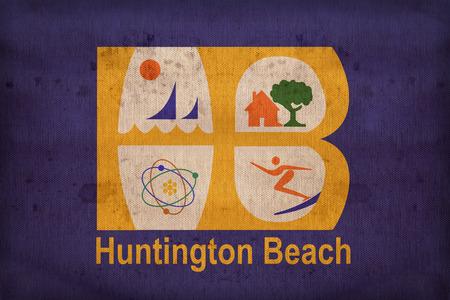 california flag: Huntington Beach ,California flag on fabric texture,retro vintage style