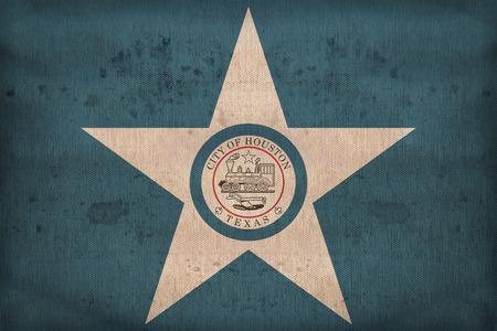 houston flag: Houston ,Texas flag on fabric texture,retro vintage style