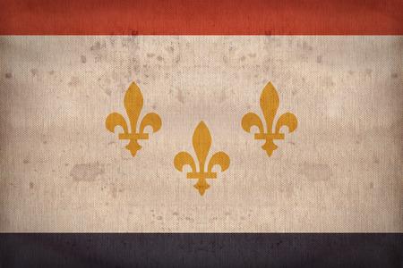 louisiana flag: New Orleans ,Louisiana flag on fabric texture,retro vintage style