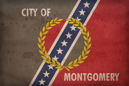 alabama flag: Montgomery , Alabama flag on fabric texture,retro vintage style