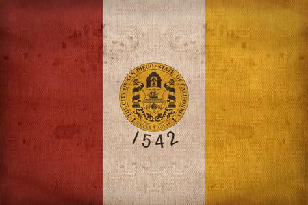 california flag: San Diego ,California flag on fabric texture,retro vintage style