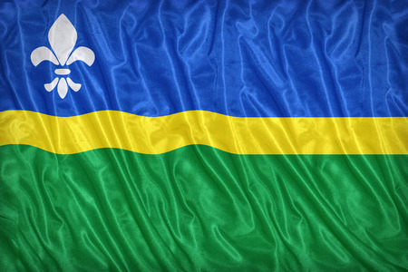 flevoland: Flag of Flevoland on the fabric texture ,vintage style